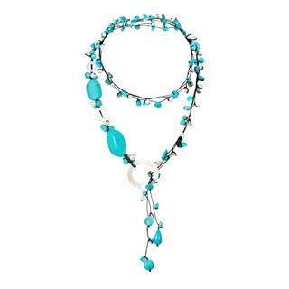 Handmade Cotton Rope Pearl/ Turquoise/ MOP Long Necklace (5-9 mm) (Turquoise)