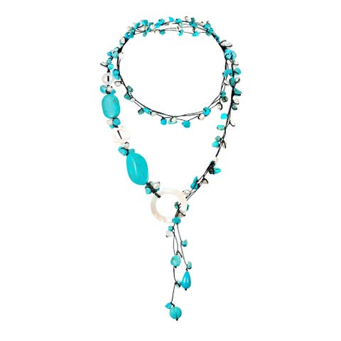Handmade Pretty Turquoise with Mother of Pearl Long Wrap Around Necklace (Thailand) - Blue