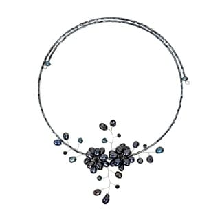 Black Pearl Floral Ray Choker Wrap Necklace (5-15 mm) (Thailand)