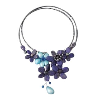 Handmade Lapis and Pearl Blue Floral Lace Wrap Necklace (4-15 mm) (Thailand)