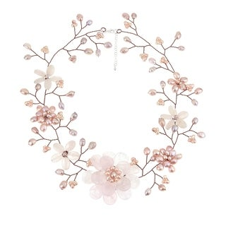 Handmade Copper Pink Quartz/ Pearl Floral Wreath Necklace (6-15 mm) (Thailand)
