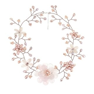 Handmade Copper Pink Quartz/ Pearl Floral Wreath Necklace (Thailand)