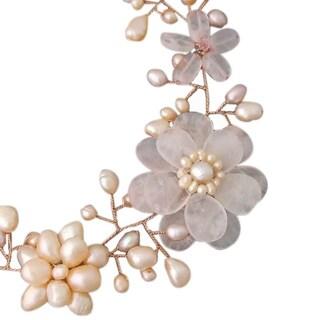 Copper Pink Quartz/ Pearl Floral Wreath Necklace (6-15 mm) (Thailand)