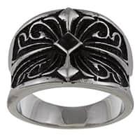 Stainless Steel Black Diamond Cross Band