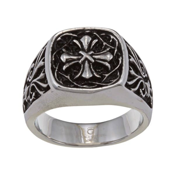 252fd5eda7 Shop Stainless Steel Men's Cross Ring - On Sale - Free Shipping On ...