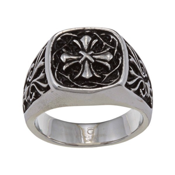 Stainless Steel Mens Cross Ring Free Shipping On Orders Over