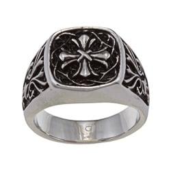 Stainless Steel Men's Cross Ring