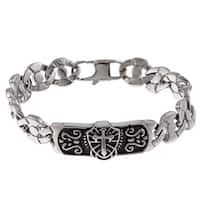 Stainless Steel Men's Cross and Shield ID Bracelet