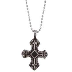 Stainless Steel Mens Onyx Cross Necklace