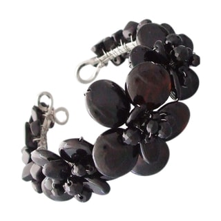 Jet Black Onyx and Crystal Floral Lace Adjustable Cuff (Thailand)