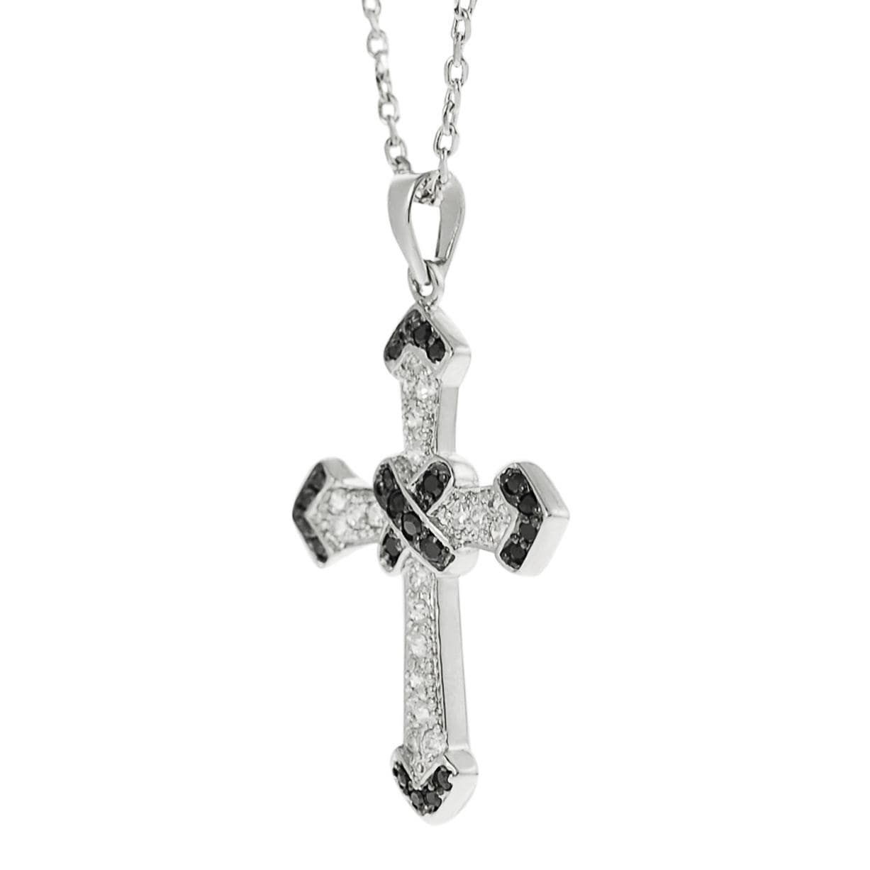 Journee Collection Silvertone Black and White CZ Cross Necklace - Thumbnail 1