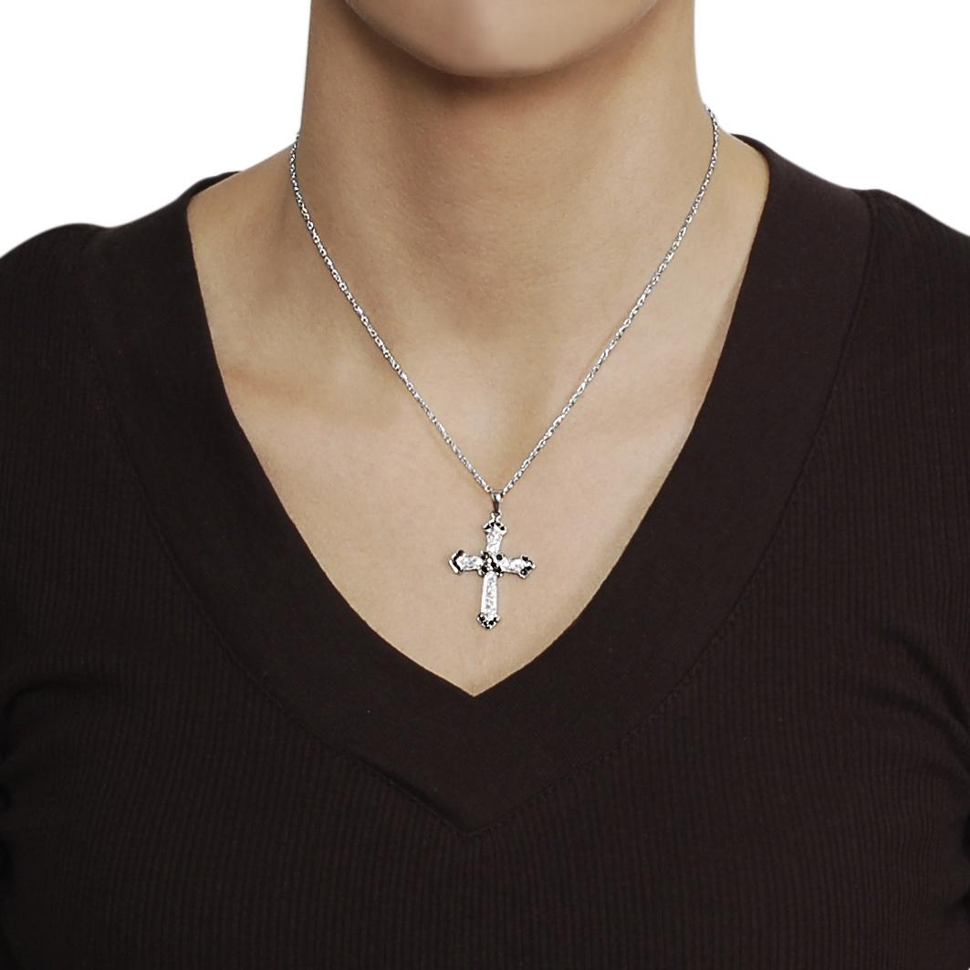 Journee Collection Silvertone Black and White CZ Cross Necklace - Thumbnail 2
