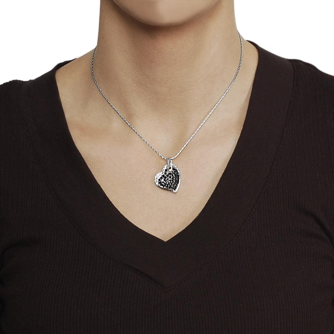 Journee Collection Silvertone Black and White CZ Heart Necklace