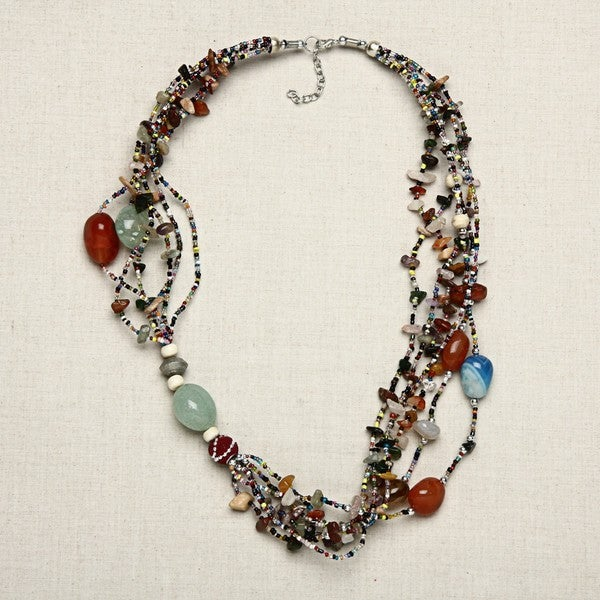 Chunky Agates and Seed Beads Necklace (India)
