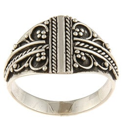 Kabella Lily B Sterling Silver Twisted Rope and Bead Design Ring
