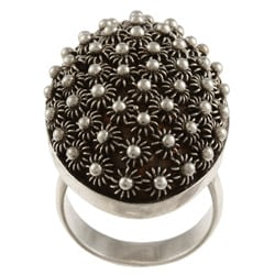 Kabella Lily B Sterling Silver Beaded Oval Starburst Ring