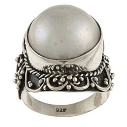 Kabella Lily B Silver Round Mabe Pearl Rope and Swirl Design Ring (15 mm)