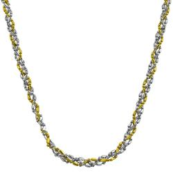 Fremada 14k Two-tone Gold 17-inch Diamond-cut Twisted Ball Chain Necklace
