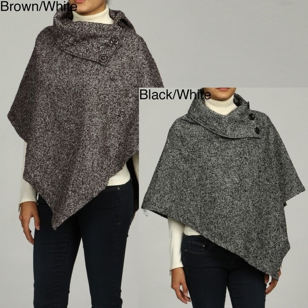 Last Kiss Women's Tweed 2-button Poncho Jacket