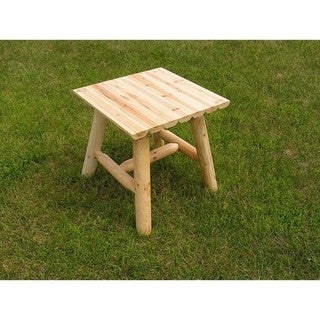 White Cedar Log Clear Coated End Table