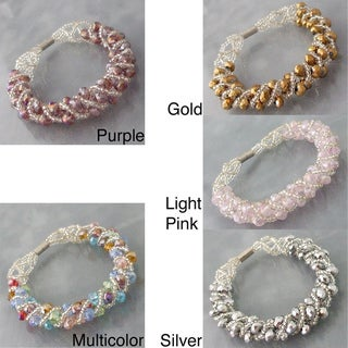 Handmade Shiny Multi-color Crystal Weave Tube Magnetic Bracelet (Philippines)