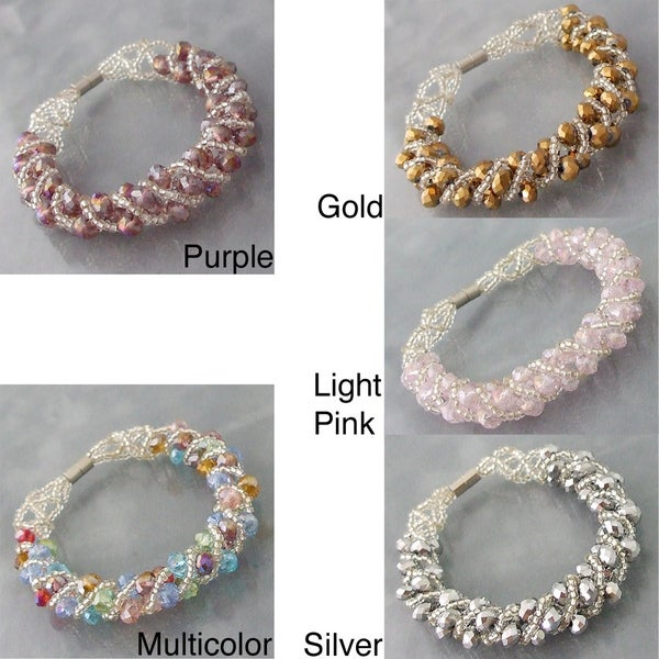 Handmade Shiny Multi-color Crystal Weave Tube Magnetic Bracelet (Philippines)