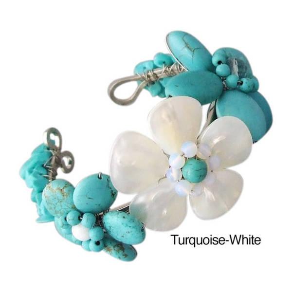 Handmade Gemstone Accent Triple Flower Cuff (5-6 mm) (Thailand)