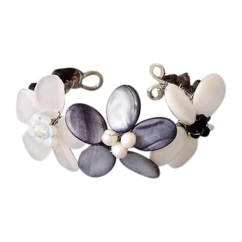 Handmade Gemstone Accent Triple Flower Cuff Bracelet (Thailand)
