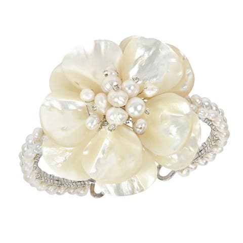 Handmade Mother of Pearl and Pearls Floral Attention Cuff (Thailand) - White