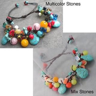 Cotton Teardrop Turquoise and Multi-gemstone Bracelet (Thailand)