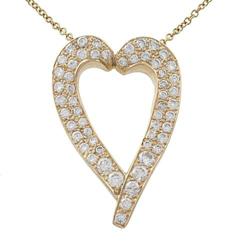 Pre-owned 18k Yellow Gold 7ct TDW Diamond Heart Necklace