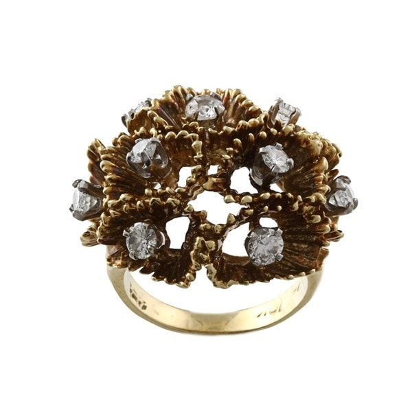 Pre-owned 18k Yellow Gold 1 1/10ct TDW Diamond Freeform Ring (I-J, SI1-SI2)