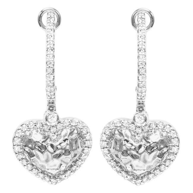 Sterling Silver 1 10ct Tdw Diamond Heart Dangle Earrings