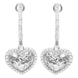 Sterling Silver 1/10ct TDW Diamond Heart Dangle Earrings (H-I, I1-I2)