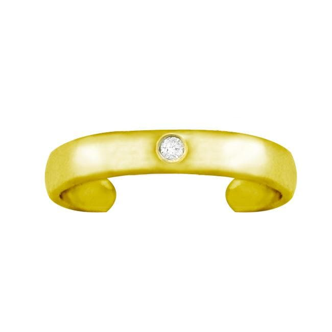 10k Gold Round-cut Diamond Accent Toe Ring - Thumbnail 1