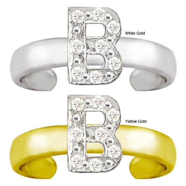 10k Gold Initial 'B' Diamond Accent Toe Ring (G-H, SI1-I2)