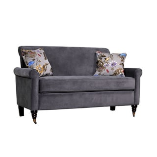 Handy Living Harlow Silver Gray Velvet Sofa with Decorative Pillows