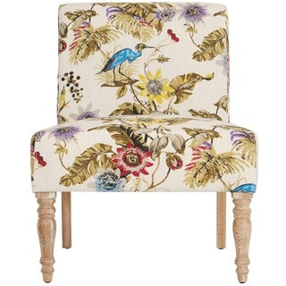 Handy Living Bradstreet Antique Floral Bird Armless Chair