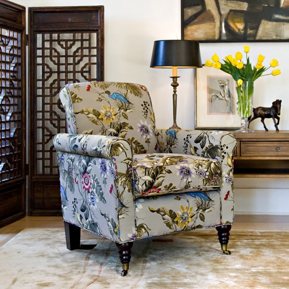 Shop Handy Living Harlow Antique Floral Bird Arm Chair