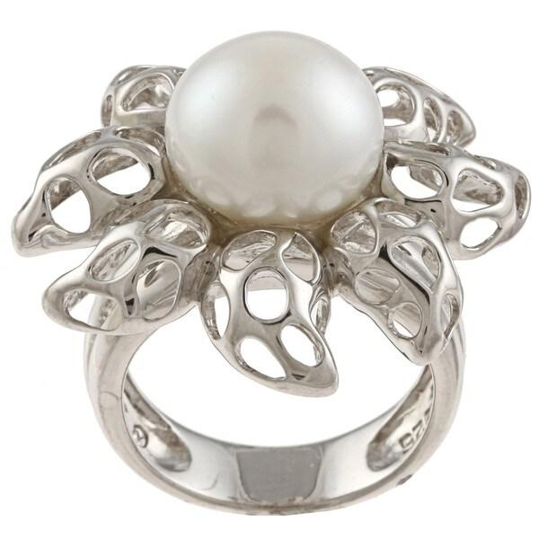 Kabella Kabella Sterling Silver Freshwater Pearl Flame Ring (12mm)