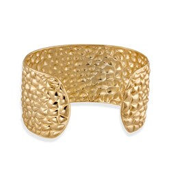 Mondevio 18k Yellow Gold Plated Stainless Steel Textured Large Cuff Bracelet
