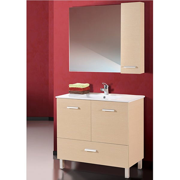 Fine Fixtures Atwood White Oak and White Wood/ Ceramic Vanity
