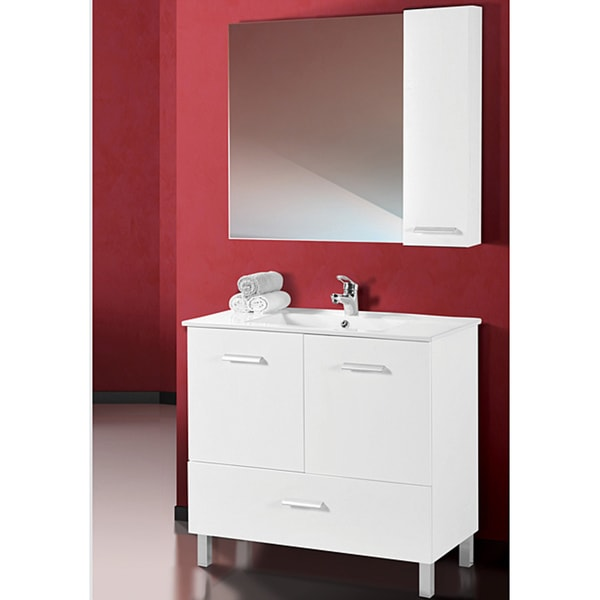 Fine Fixtures Atwood White Wood and Ceramic Vanity