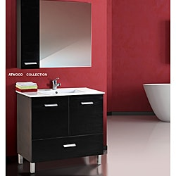 Fine Fixtures Atwood Black and White Wood/ Ceramic Vanity