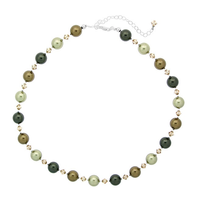Glitzy Rocks Sterling Silver Faux Pearl and Crystal Necklace