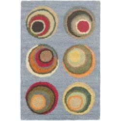 Safavieh Handmade Soho Candies Blue New Zealand Wool Rug (2' x 3')