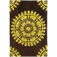 Safavieh Handmade Soho Chrono Brown/ Green New Zealand Wool Rug - 2' X 3'