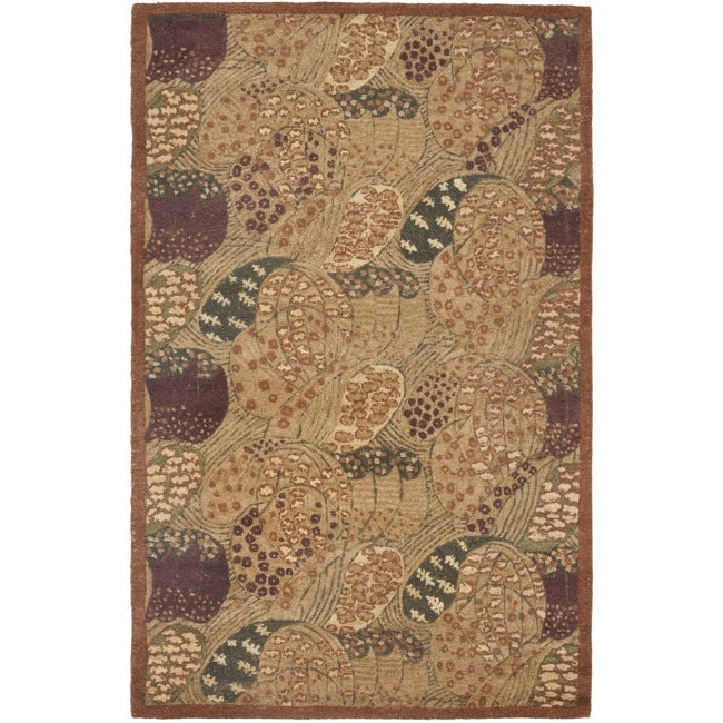 Safavieh Handmade New Zealand Wool Moments Beige Rug - 3'6 x 5'6