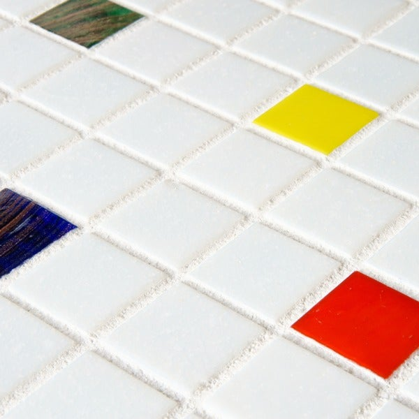 piano mosaic in white tile kitchen somertile 12x12 inch cuivre 1 inch happy translucent glass mosaic
