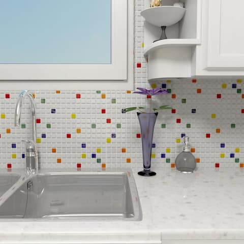 SomerTile 12x12-inch Cuivre Happy Glass Mosaic Wall Tile (10 tiles/10.21 sqft.)